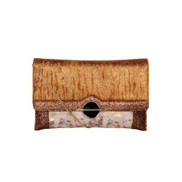 ESBEDA Printed Pattern Lurex Partywear Clutch For Women,  tan
