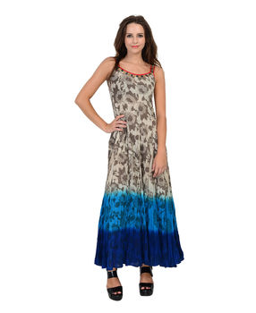 Off White cotton block printed panalled strappy long dress, off white, 2xl
