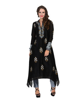 Black silk chanderi block printed asymmetrical kurta with pants., black, s