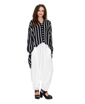 Black and White anti fit asymmetrical rayon top., black and white, l