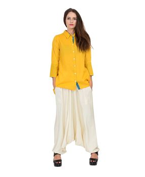 Mustard asymmetrical dobby cotton top, mustard, s