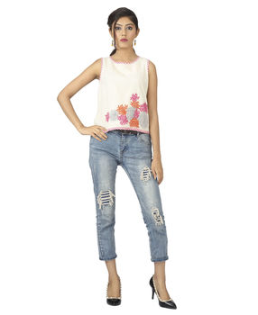 Off White floral embroidered Crop top, m, off white