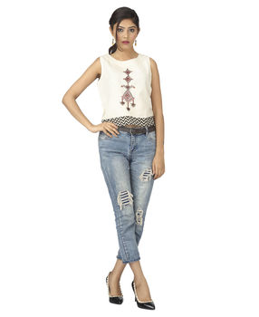 Off White embroidered motif printed Crop top, s, off white