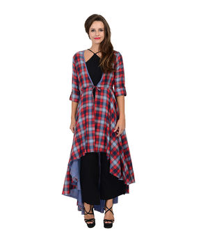 Red and Blue cotton woven checks jacket, red and blue, s