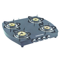 Sunshine Alfa Oval MS Four Burner Toughened Glass Gas Stove, lpg, manual