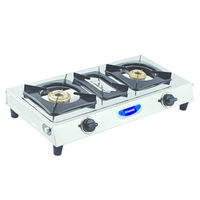 Sunshine Taper-3 Double Burner Stainless Steel Gas Stove, lpg, manual