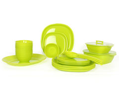 Gluman Microwave Safe Dinner Set - 32 Pcs Square Green