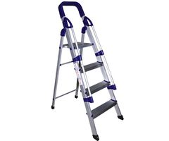 CiplaPlast Folding Aluminium Ladder with Railings - Home Pro 4 Steps