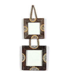 VarEesha Ethnic Wooden Hanging Photo Frame Set, 300 g, brown, 6x1x13