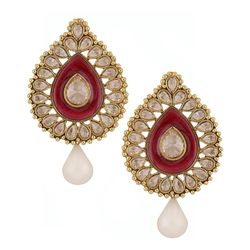 Deco Junction Ethnic Pearl Stud Earring, 3, pink