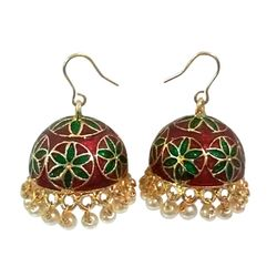Deco Junction Jhumki With Meenakari Designer Red And Green Colur With White Pearl Ally Merial 3cm, 3, red & green