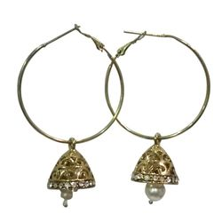 Deco Junction Round Bali Earring With Small jhumki Brass Material 6cm, 6, golden