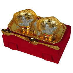 Jaipurace Silver And Gold Plated Brass Bowl 5 Pcs Set