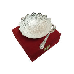Jaipurace Floral Pattern Silver Plated Brass Bowl With Red Velvet Box
