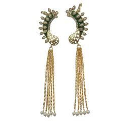 Deco Junction Gold Plated Maroon Colour Earcuff with chain Earring - Online Shopping for Earrings 15cm, 15, maroon