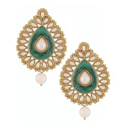 Deco Junction Ethnic Pearl Stud Earring, 3, green