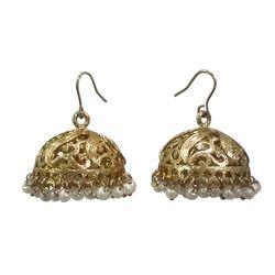 Deco Junction Ethnic Look Golden Jhumki With Alloy Mertial Small Pearl 2.5cm, 2.5, golden
