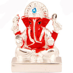 (GHASITARAM) Orange and Silver Ganesha