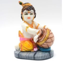 DECO JUNCTION Krishna - 5 Inch, fibre - marble finish, yellow, 14x9.5x19 cm