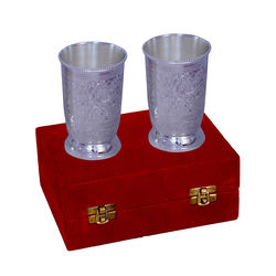 Jaipurace Royal Gift Silver Plated Brass Water Glasses With Red Velvet Box
