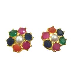 Deco Junction Colourful Stud with stone, 1, multi