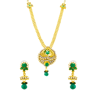Royal Look Golden Green Necklace Set For Women