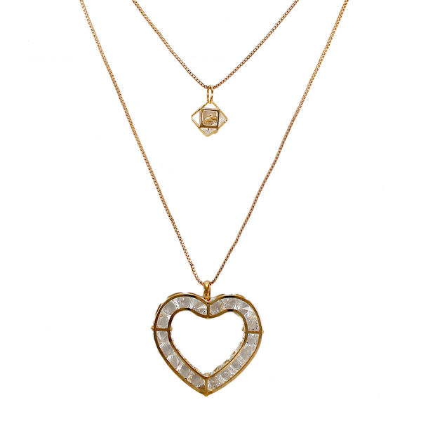 Elegant Two-Layer Gold Tone Chain Necklace With Dangling Heart