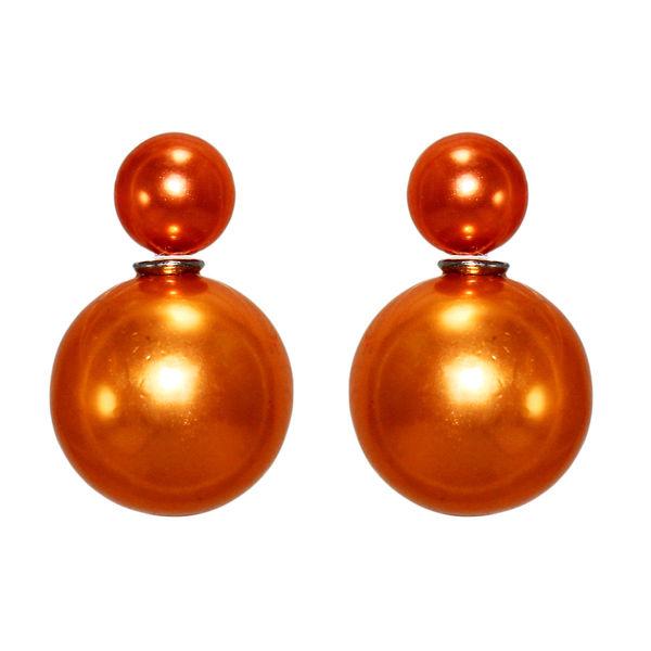 Orange Pearl Ball Adorned Reversible Studs