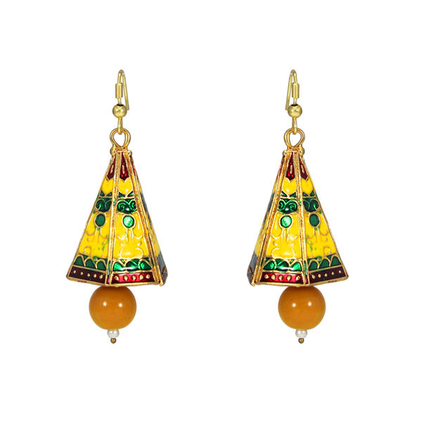 Beautiful Yellow Meenakari Jhumki