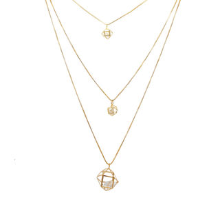 Gold Tone 3 Chains Adorned With White Stone