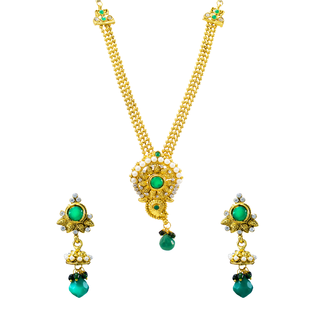 Golden Necklace Set Studded With Green Gemstone And Pearl