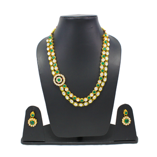 Kundan Necklace set with Green Gemstone For Women