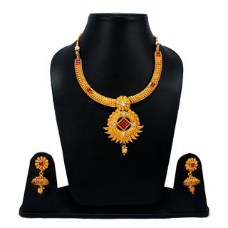 Gorgeous Gold Tone Necklace Set With Red Stones For Women