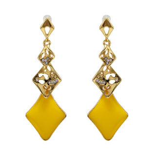 Golden And Yellow Long Drop Alloy Earrings