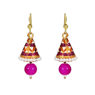 Meenakari Jhumki In Pink Adorned With Pearl