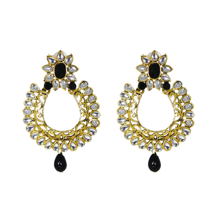Beautiful Traditional Black Danglers With Kundan For Women
