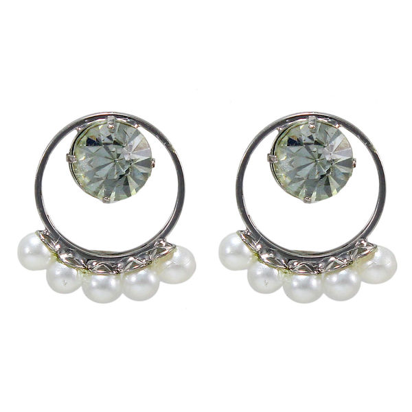 Classy Round Shape Earrings Adorn With Pearl