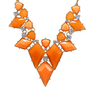 Stylish Orange Stones Adorned Fashion Necklace For Women