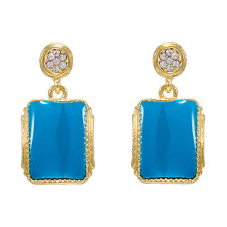 Trendy Gold Tone Blue Danglers For Women
