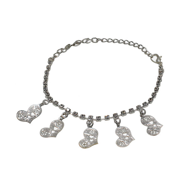 Silver Tone Anklet With Dangling Hearts For Girls