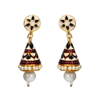 White Ethnic Danglers With Meenakari