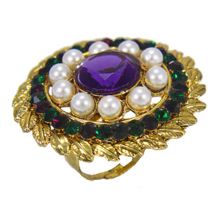 Multi Color Stones And Pearl Adorned Ring For Women, adjustable