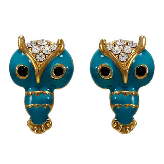 Cute Owl Design Studs In Blue