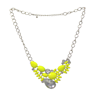 Yellow Beads Fashion Necklace Studded With Crystal