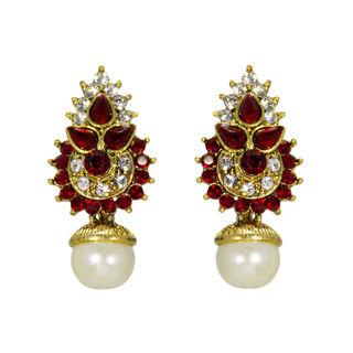 Maroon And Golden Ethnic Stud Earrings For Women