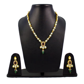 Kundan Necklace set with Red And Green Stone