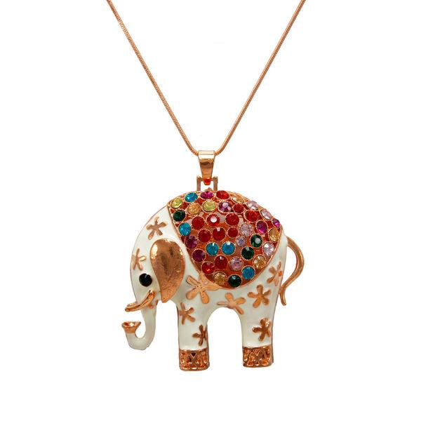 Multi-Color Elephant Pendant On Copper Chain