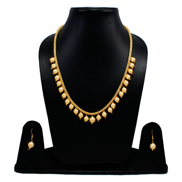 Pearl Adorned Golden Ethnic Necklace For Women