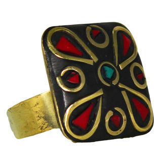 Square Shape Ring With Red And Golden Design, adjustable