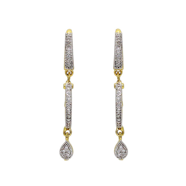 American Diamond Studded Bali With Long Drop